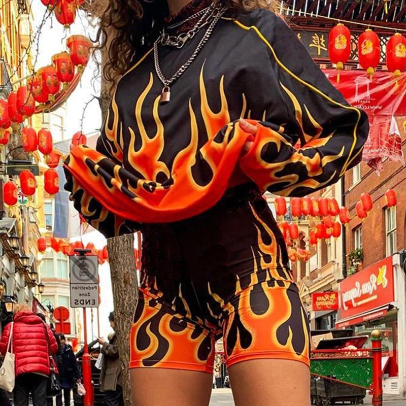 Комплект из двух предметов, женские велосипедные шорты, спортивный костюм для бега, Женский комплект из 2 предметов, одежда с принтом огня, д...