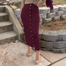 Winter Autumn High Waist Women Skirts Muslim Buttons Bodycon Sheath Long
