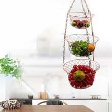 3 уровневая кухонная подвесная корзина для фруктов Проволочная