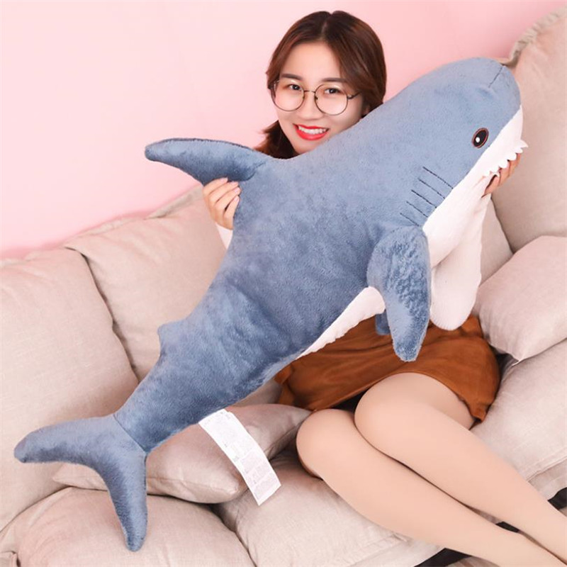 60/80/100CM Big Shark Plush Toy Soft Stuffed Speelgoed Animal Reading Pillow For Birthday Gifts Cushion Gift For Children
