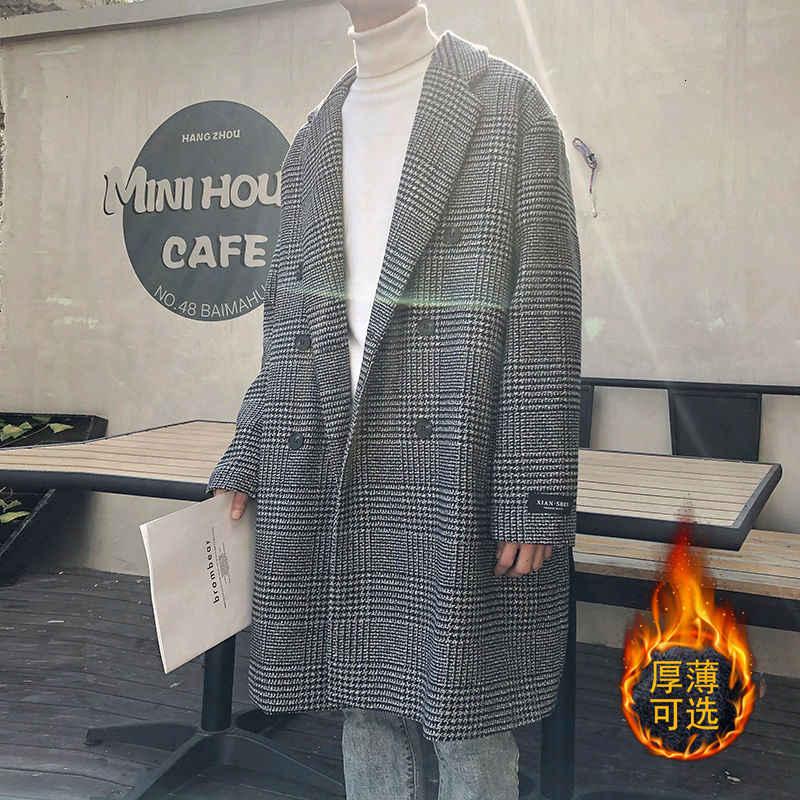Модный Мужской плащ, осенне-зимний Свободный корейский стиль, стиль колледжа, мужское шерстяное длинное утепленное пальто, Лидер продаж