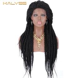 Kalyss 28 zoll Geflochtenen Perücken für Schwarze Frauen Synthetische Spitze Vorne Perücke mit Baby Haar Schwarz Box Zöpfe Natürliche Seite abschied Perücke