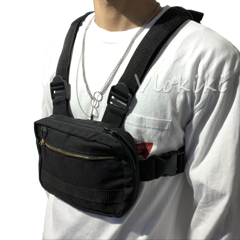 H8e4491cd55df4d8682d7d3ba3442e933s - Small Chest Rig Men Bag Trendy Tactical Outdoor Streetwear Strap Vest Chest Bags For Women External Hook Sport Chest Pocke G176