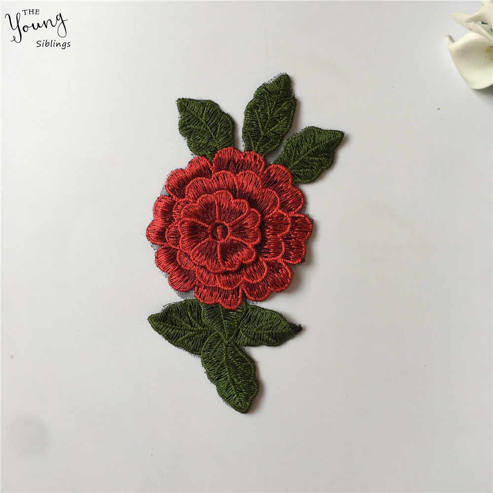 Nuovo arriva 3D fiore Del Ricamo Per Cucire Applique colletto di Pizzo Scollatura di Pizzo FAI DA TE Abiti in tessuto Accessori Forniture 1 pcs di vendita
