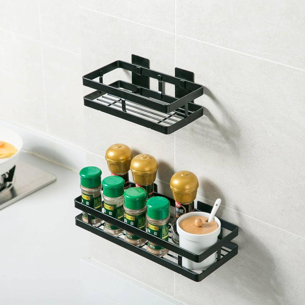 Carbon Steel Free Punching Kitchen Rack Wall Spice Rack Black Shelf Multi-function Wall Hanging Storage Shelves