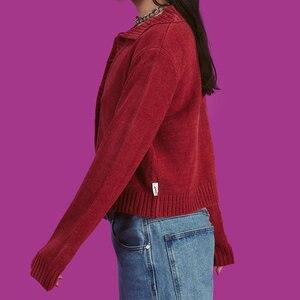 Image 2 - 하라주쿠 걸스 빈티지 니트 카디건 스웨터 2019 가을 다운 칼라 니트 캐주얼 루즈 소프트 아늑한 아웃웨어 여성