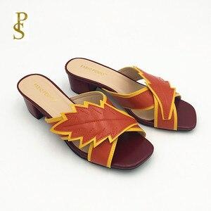 Image 4 - Pantoufles colorées assorties, chaussures à talons bas pour femmes, chaussures pour femmes