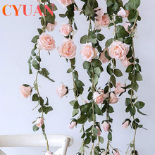 Silk Flower Garland-String Hanging-Decor Leaves Rose Ivy Vine Real-Touch Home CYUAN Wedding