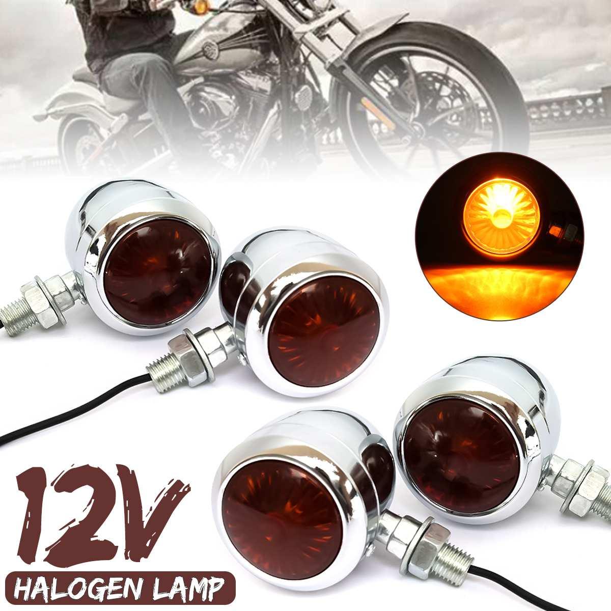 2 4Pcs 12V Retro Metal Chrome Motorcycle Turn Signal Indicator Halogen Light Bulb Lamp Vintage Amber Universal For Harley