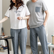 Couple's sleep wear soft thin knitted cotton plus size short sleeve t-shirt and pant sport women's