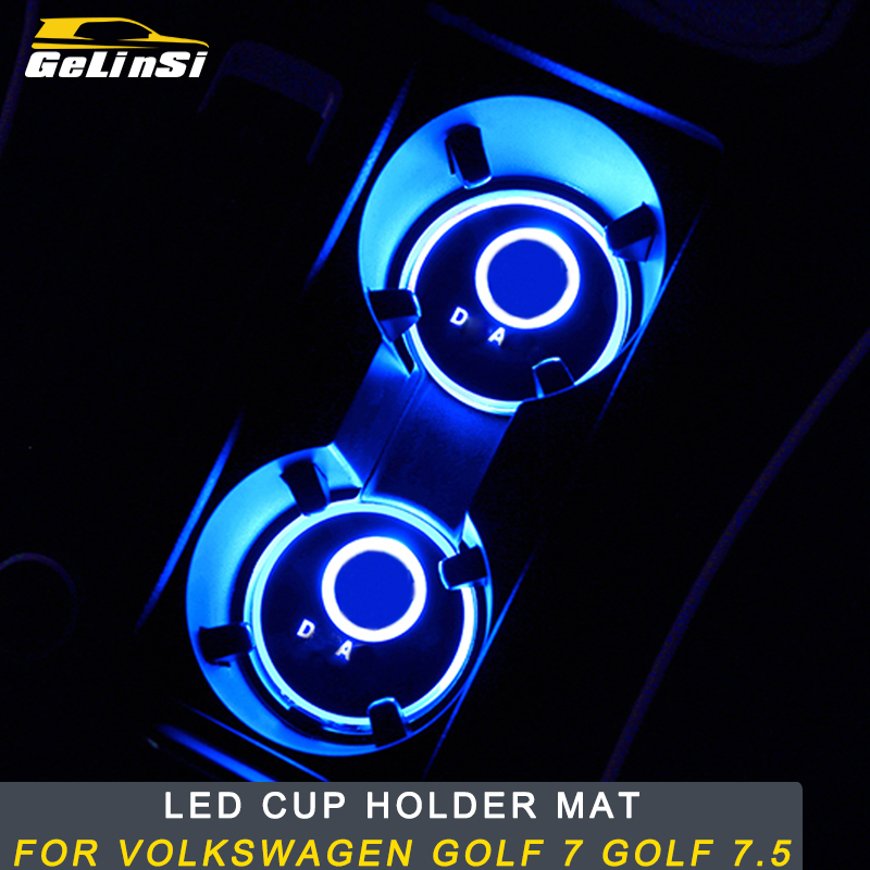 Gelinsi For Volkswagen <font><b>Golf</b></font> 7 <font><b>Golf</b></font> 7.5 Car Styling <font><b>LED</b></font> Cup Holder Mat Protector Cover <font><b>Trim</b></font> Interior Accessories image