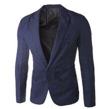 Hot Men Solid Color Long Sleeve Lapel One Button Pocket Blazer Slim Suit Coat Lapel One Button Pocket Blazer Slim Suit Coat Men