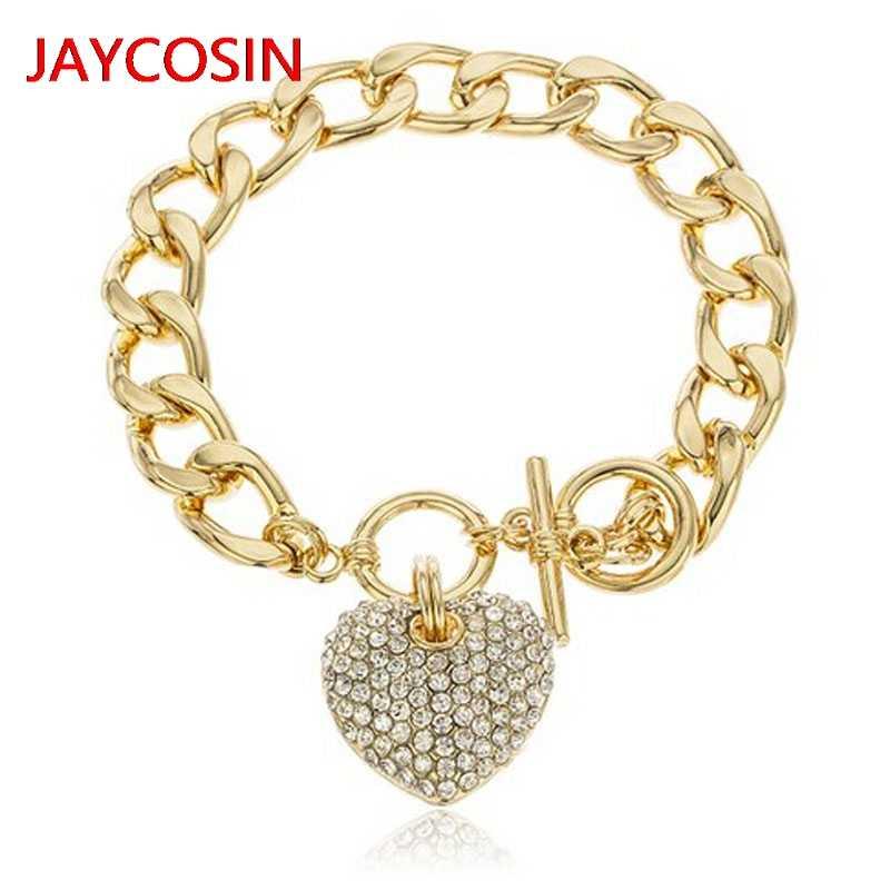 Kobiety bransoletka 2019 moda Goldtone jasne Iced Out serce 8.5 Cal kubański Link 12mm bransoletka gorąca sprzedaż L4008021