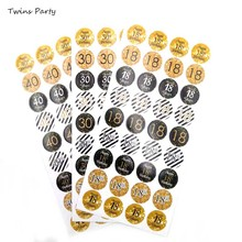 Twins 6pcs 18th 30th 40th 50th 60th 70th 80th Birthday Stickers Party Decoration Anniversary Gift Sticker Decor
