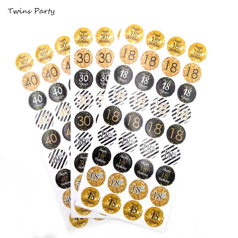 Twins 6pcs <font><b>18th</b></font> 30th 40th 50th 60th 70th 80th <font><b>Birthday</b></font> Stickers <font><b>Birthday</b></font> Party <font><b>Decoration</b></font> Anniversary Party Gift Sticker Decor image
