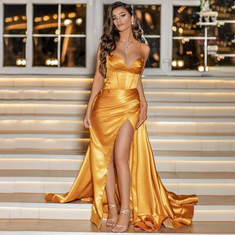 2020 Gold Sweetheart Prom Dresses Satin Long Evening Gown Sexy High Split Dubai Party Dress Formal Gowns Abendkleider