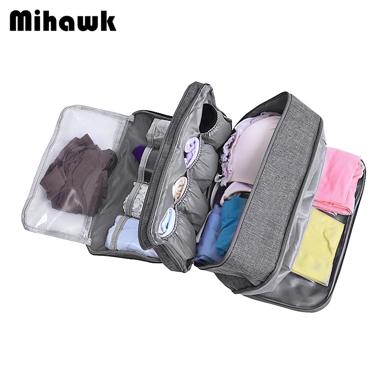 Mihawk Travel Underwear Bags Women's Cosmetic Makeup Clothing Bra Organization Weekend Overnight Pouch Accessories Product Stuff