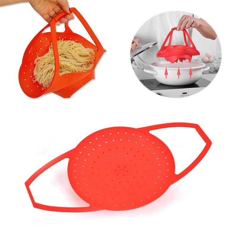 Silicone Steamer Basket Foldable Heat Resistant Dishwasher Safe Food Steamer For Instant Pot Pressure Cooker Sling Bakeware