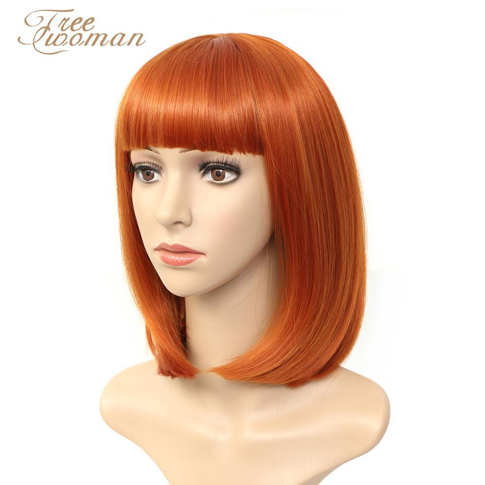 Парик FREEWOMAN синтетический коричневый для женщин, короткий парик с челкой, искусственные волосы, розовый, фиолетовый, черный парик, термостой...