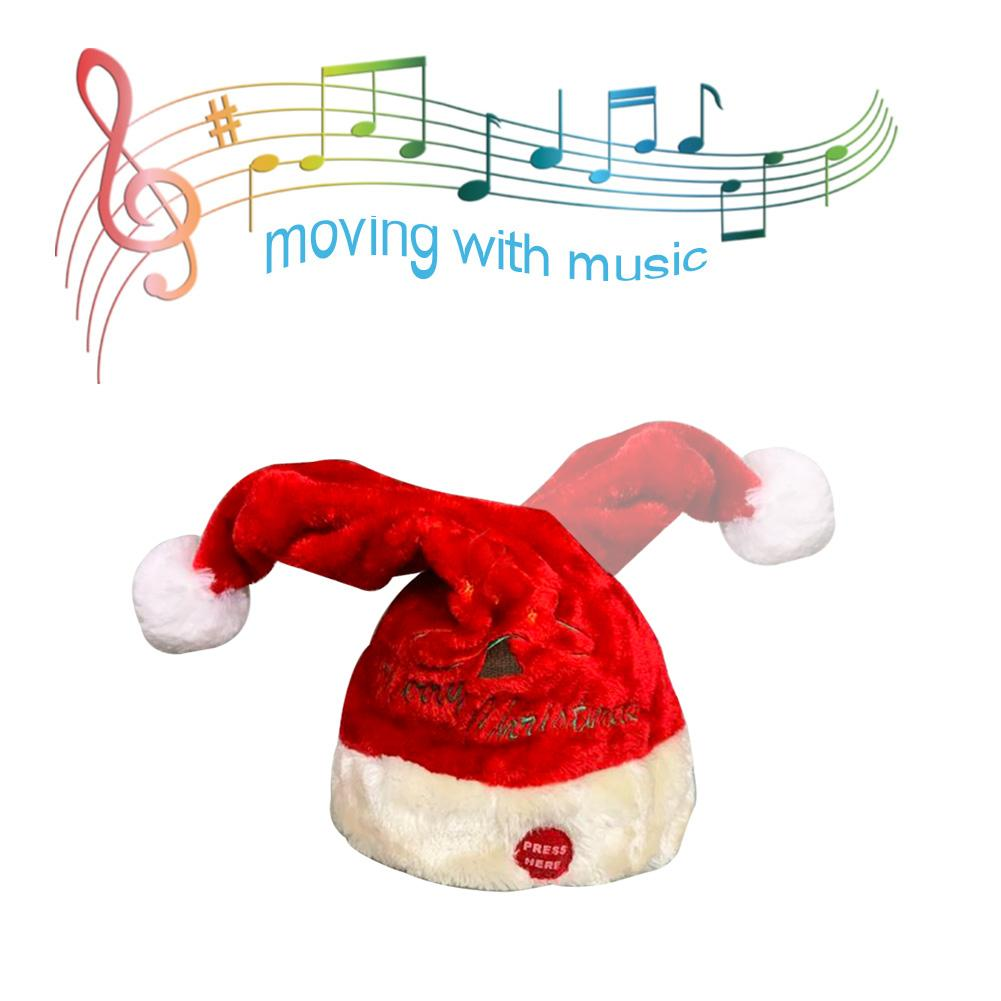 Electric Christmas Hat Toy Red Velvet Embroidered Christmas Music Swing Cap Christmas Day Party Decoration Christmas Gift