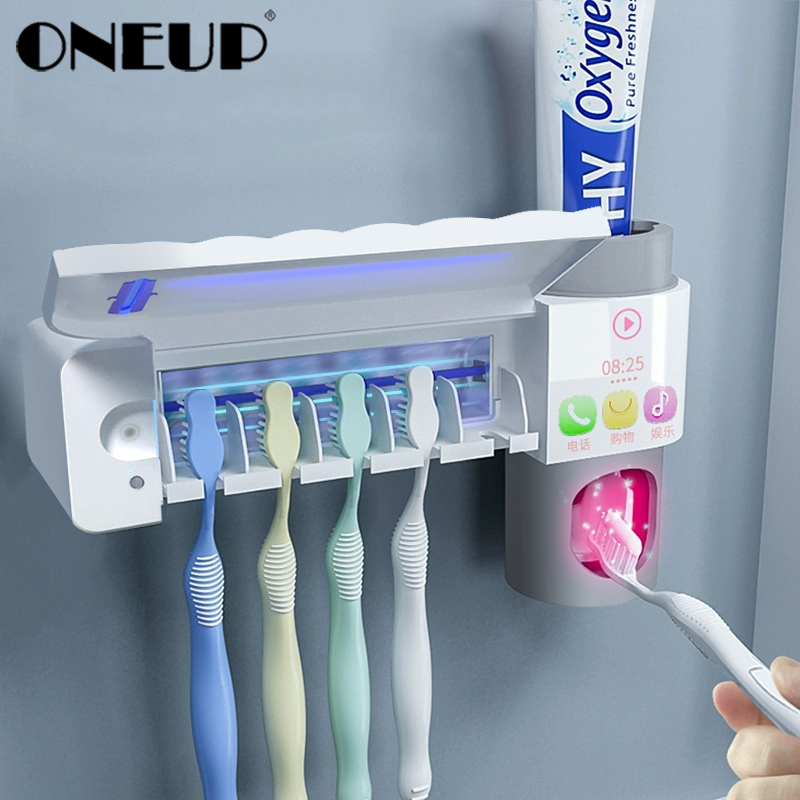 ONEUP Antibacteria 3 In 1 UV Toothbrush Holder Sterilizer Automatic Toothpaste Squeezers Dispenser For Home Bathroom Accessories