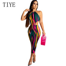 TIYE Rainbow Color Stripe Printed Backless Women Halter Dress Sexy Sleeveless Hollow Out Summer Vintage Party Bodycon