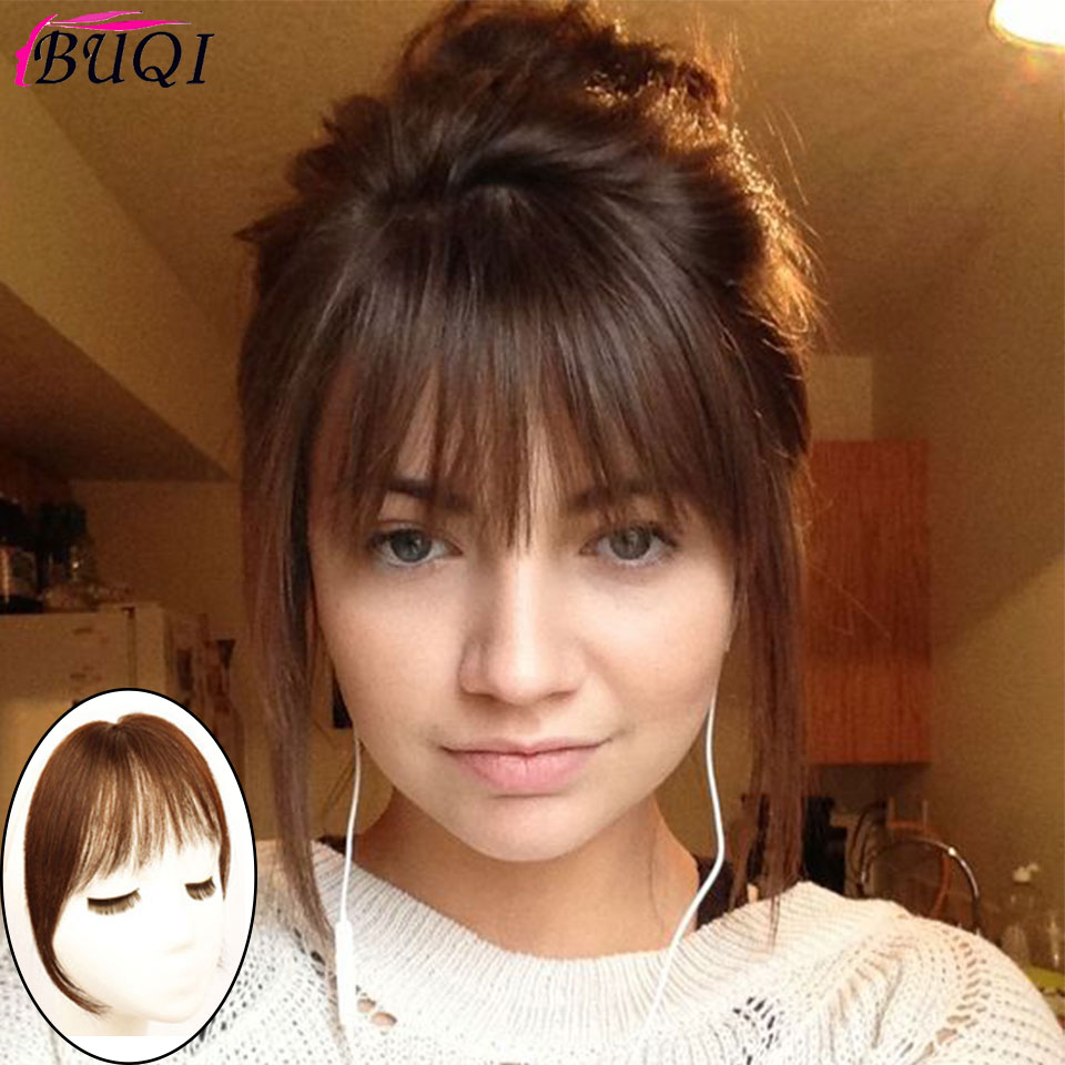 BUQI Black And Brown Bangs Hair Extensions Traceless Comfortable Natural Air Women's Bangs 100% Real Human Hair