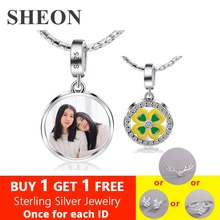 SHEON Custom Round Photo Pendant Necklace 925 Sterling Silver Green Clover Engraved Personalized Keepsake
