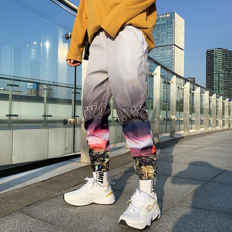 Gradient Jogger Pants Men Streetwear Hip Hop Harem Pants Loose Casual Sport Elastic Waist Ankle Length Trousers