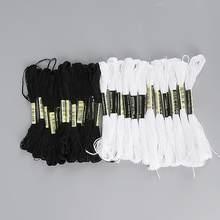 Cruz punto de cruz hilo de bordar hilo madeja DIY manualidades hechas en casa accesorios de costura (Color negro blanco cada color 7,5 m * 12 uds)