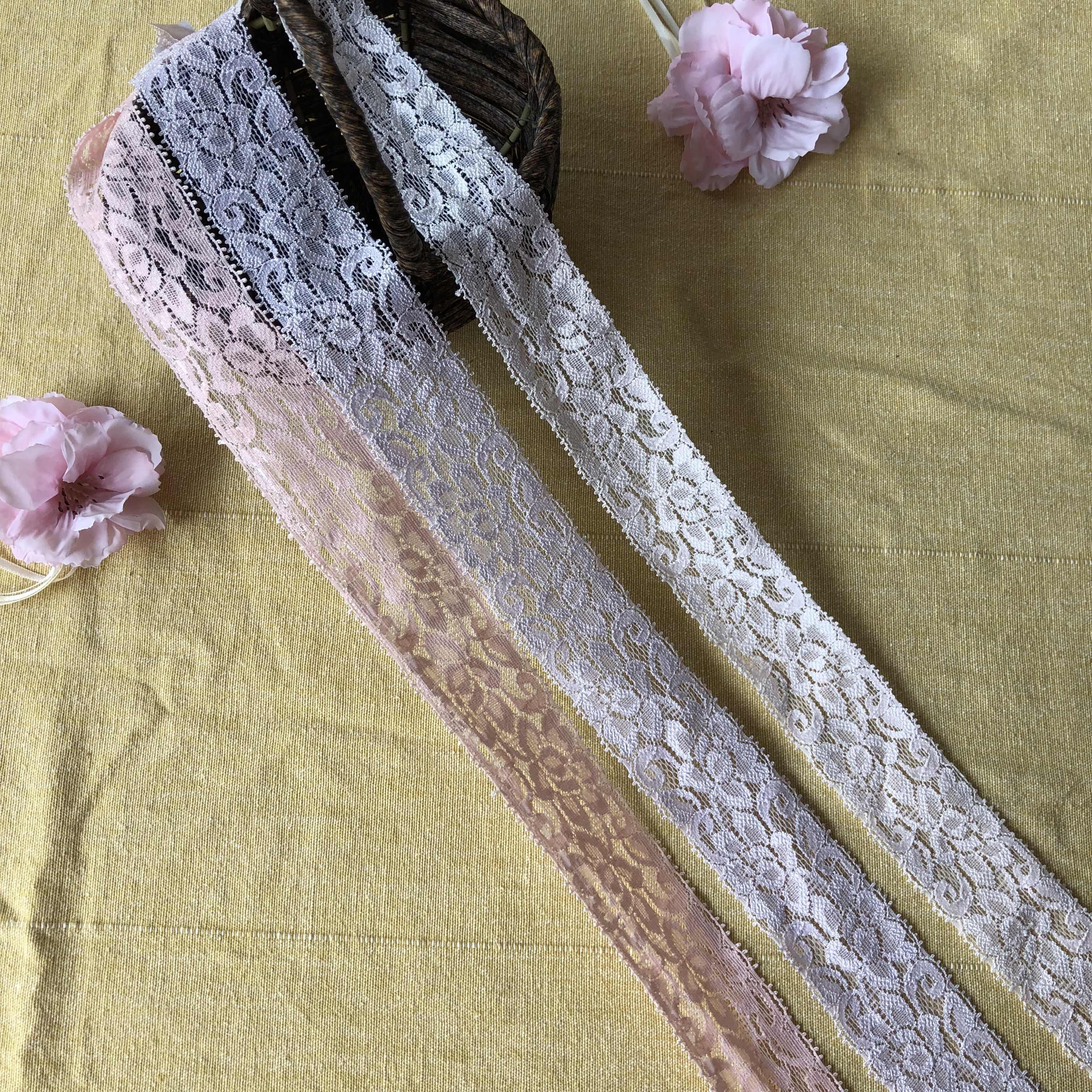 3.5 centimetri S1300 Morbido Elastico Lace Trim Nastro di Abbigliamento FAI DA TE Cucito Tessuto FAI DA TE Accessori di Abbigliamento Scava Fuori Il Fiore di Pizzo Ricamato