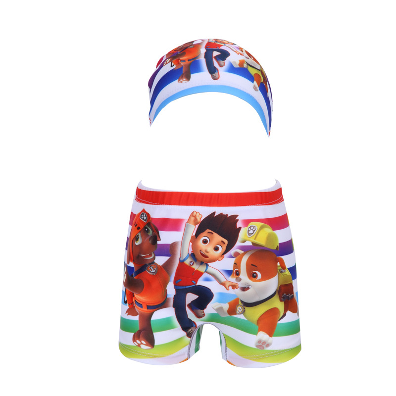 2018 Xiqi KID'S Swimwear New Style Rainbow Stripes BOY'S Cartoon Swimming Trunks Men And Treasure Swimming Trunks Swimming Cap