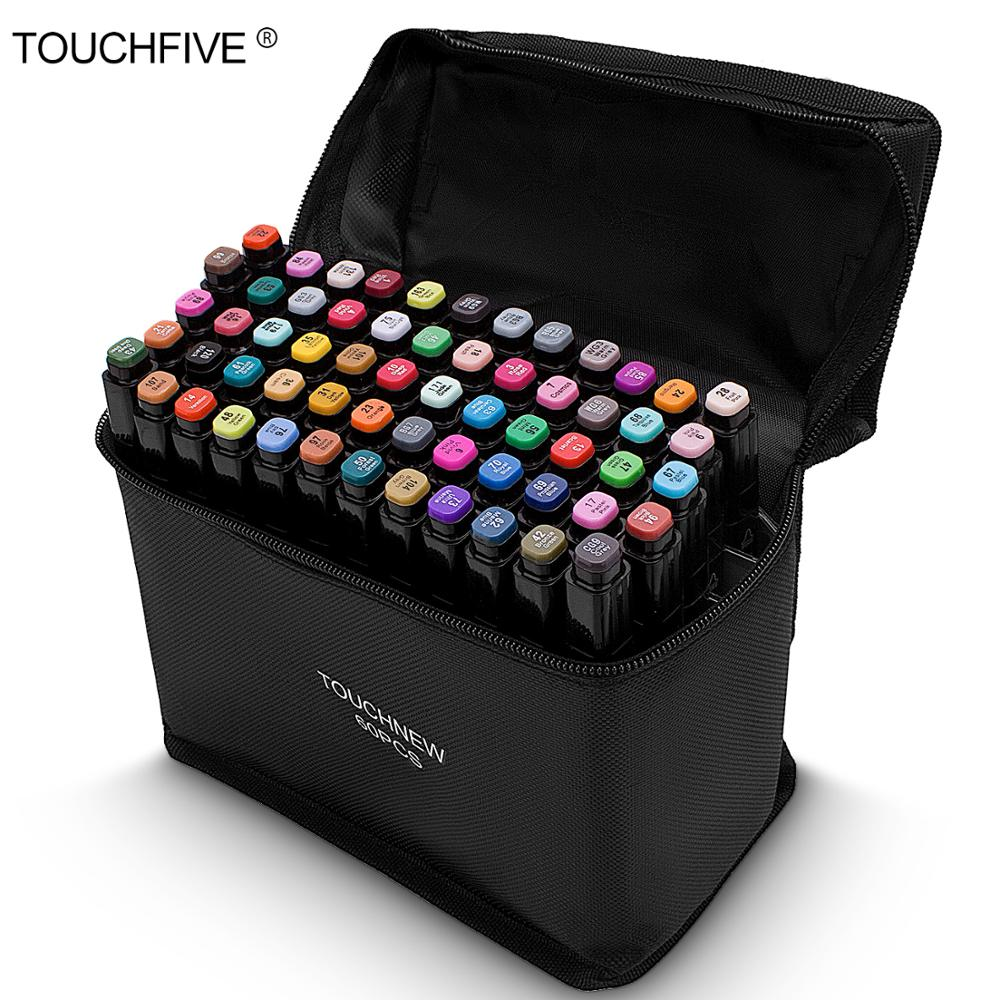 TouchFive Black Body Marker Pen Set Graphic Sketch Art Markers Double Headed Alcohol Based Artist Pen Painting Supplies