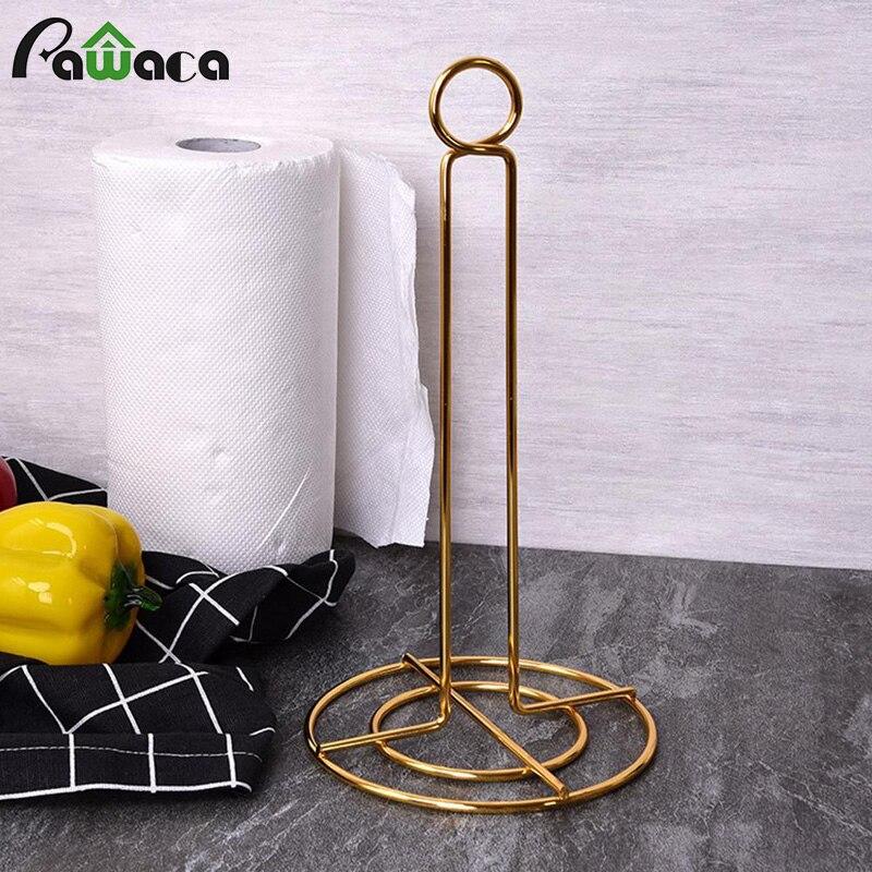 European Luxury Stainless Steel Vertical Paper Towel Holder Toilet Paper Holder Stand Bathroom Tissue Rack Kitchen Towel Hook