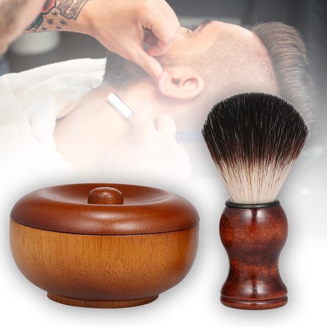 Men's Manual Beard Care Set Facial Care Wood Shaving Kit Beard Brush Home Bathroom Grooming Tool 1