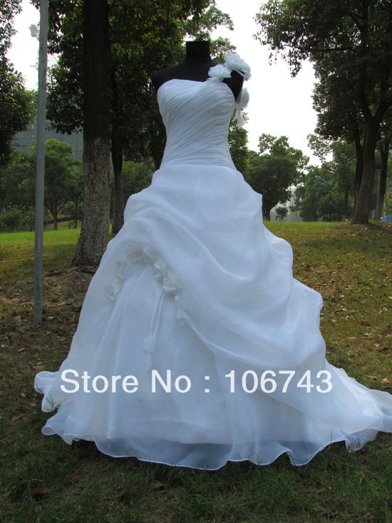 Vestido De Noiva 2018 New Fashion Long Designer Flowers Organza Chinese One Shoulder Bridal Gown Mother Of The Bride Dresses