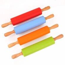 3 größen Silikon Rolling Pin mit Holzgriff Gebäck Mehl Kuchen Teig Gemusterten Walze Backformen Küche Gebäck Werkzeug 4 Farben