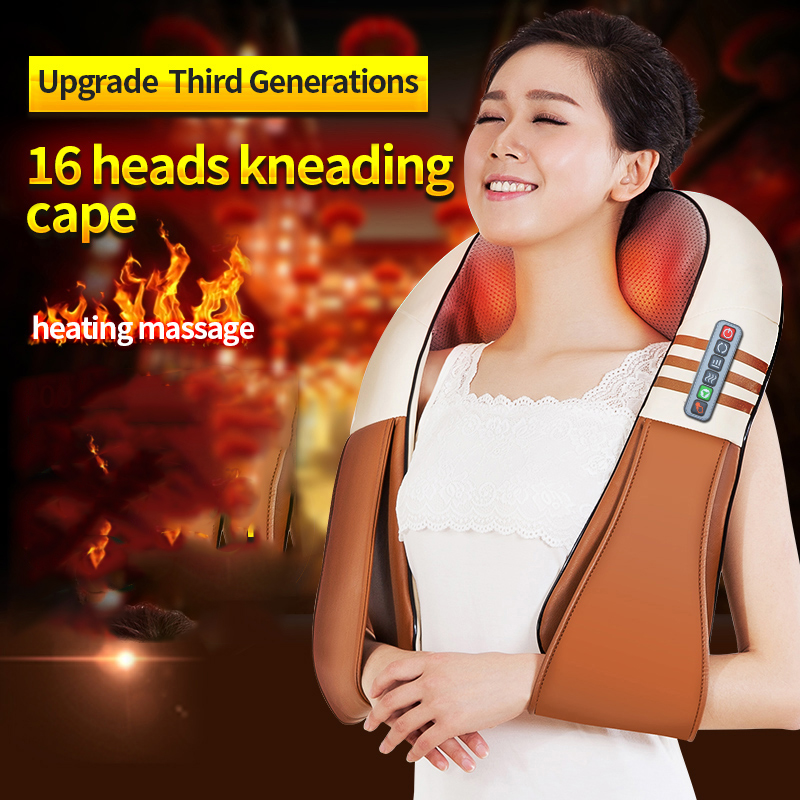 U Shape Electrical Shiatsu Back Neck Shoulder Body Massager Infrared Heated Kneading Car/home Massager Instrument Family Gift And Digestion Helping