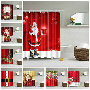 Lighted Christmas Shower Curtain Printed Happy New Year Santa Claus Red Waterproof Curtains for Shower Bathroom Christmas Decor