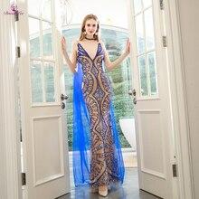 DressbLee nowy projekt syrenka sukienka na studniówkę es z kryształową perłą świecący dubaj sukienka na studniówkę długa iluzja suknia wieczorowa robe de soiree