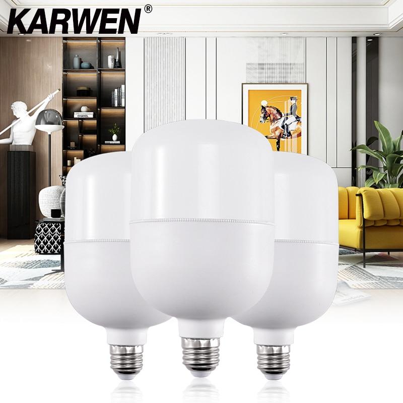 KARWEN Lampada LED Bulb E27 No Flicker LED Lamp 5W 10W 15W 20W 30W Bomlillas LED Ampoule Blub 220V For Indoor Home Table Lamp