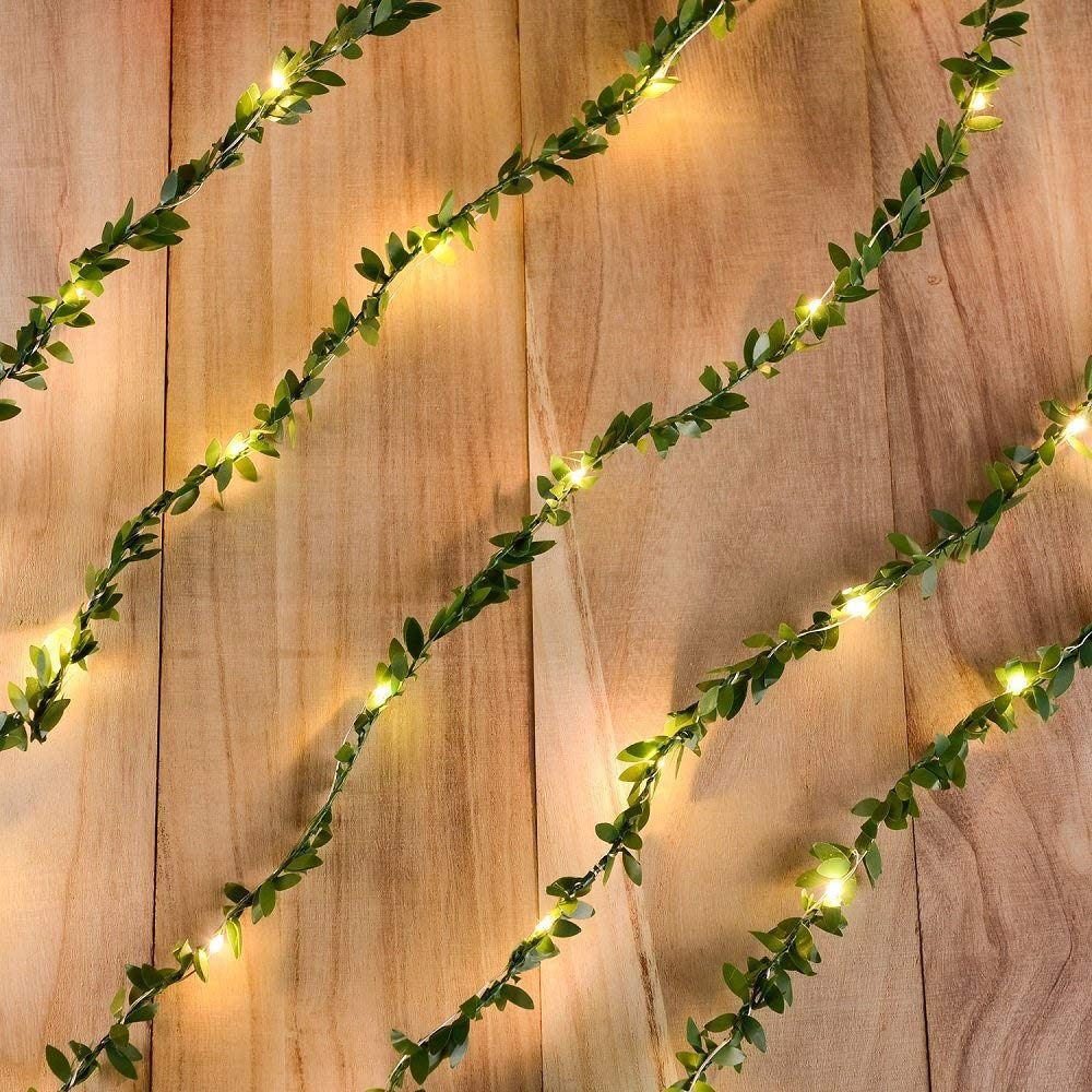 2M/3M/5M/10M Warm White Tiny Green Leaf Garland Holiday Copper Wire Fairy String Lights For Christmas Party New Year Wedding