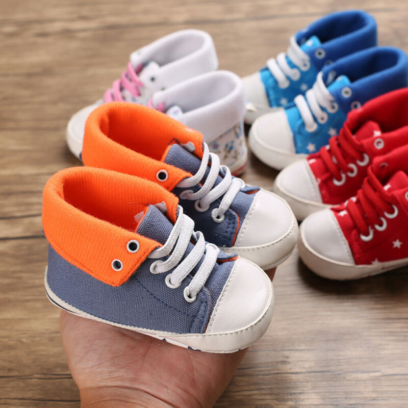 New Lace Up Low Top Canvas Toddler Baby Boy Girls Canvas Shoes Walking Comfort 4 Colors 2019