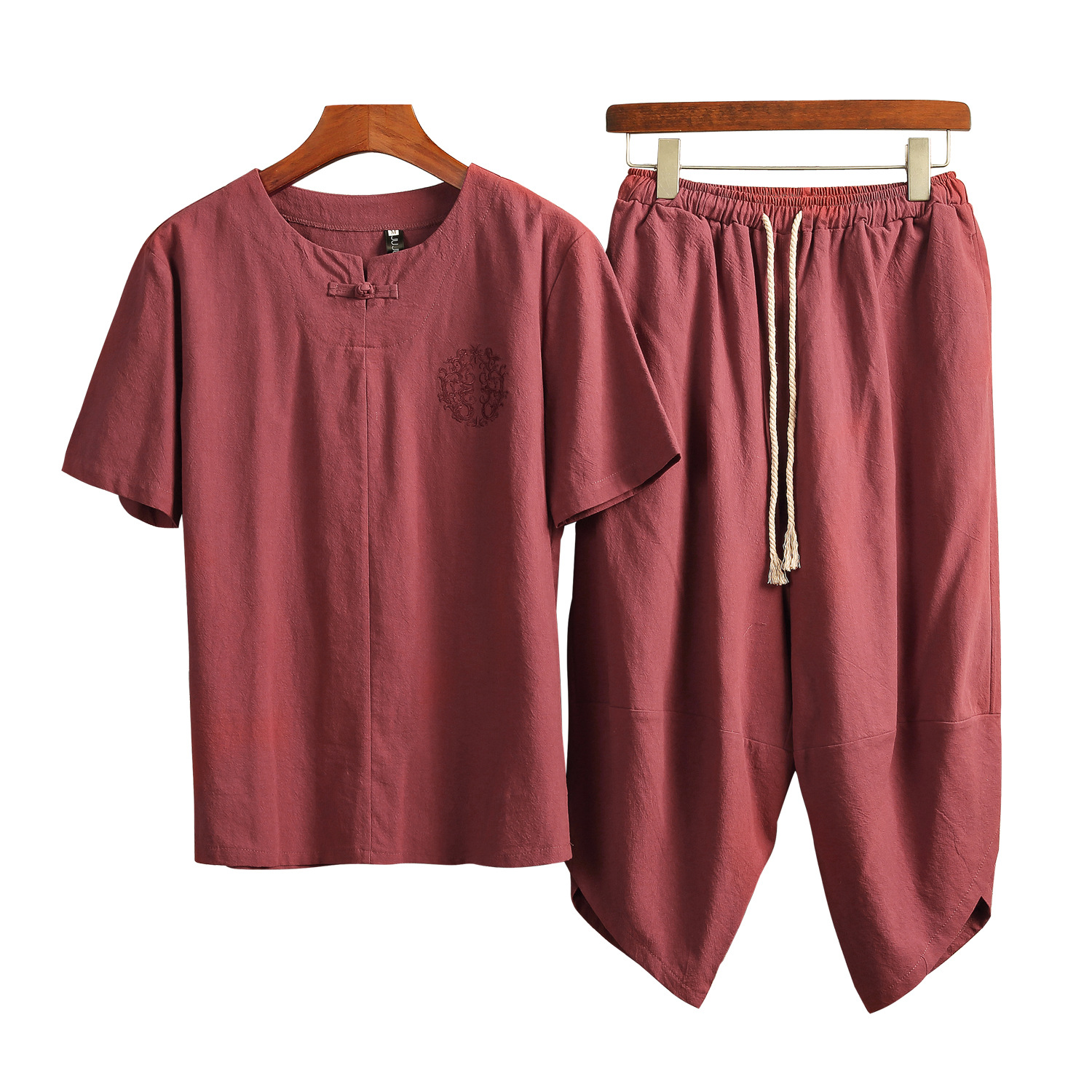 Summer New Style Retro Chinese-style Men's Cotton Linen Short Sleeve T-shirt Suit Men Loose-Fit Capri Pants Flax Set