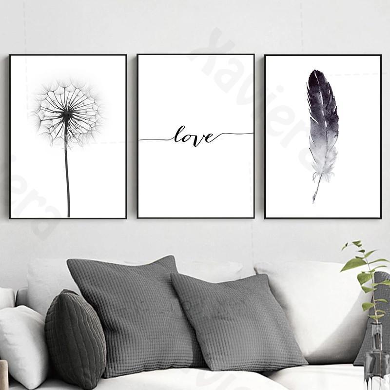 Купить современный черный и белый декор картина одуванчик перо плакат