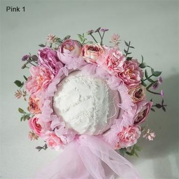 0-10 Yrs Newborn Floral Bonnet Baby Adult Family Flower Hat Photography Parent-child Garden Simulation Flower Cap Photo Props - pink 1, 10 Yrs-Adult