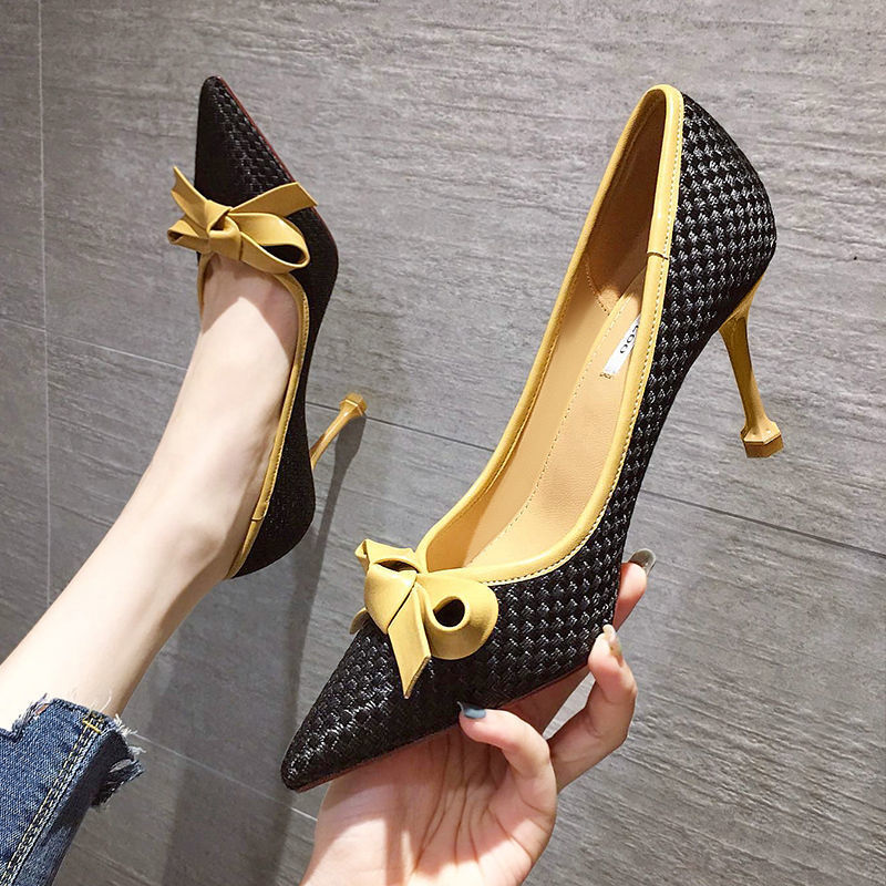 Stiletto Single-Shoes High-Heels Pointed Women's Ladies French Bow Small Fragrance Temperament