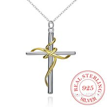 Hotsale 925 Sterling Silver Pendant,Latest Trendy Classic Jewelry,Color Separation Twisted Rope Cross Silver Necklace for Women(China)