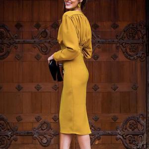 Image 3 - Turmeric Elegant pleated midi dress women 2019 Autumn Party yellow bodycon ladies dress Plus size high waist winter dress new