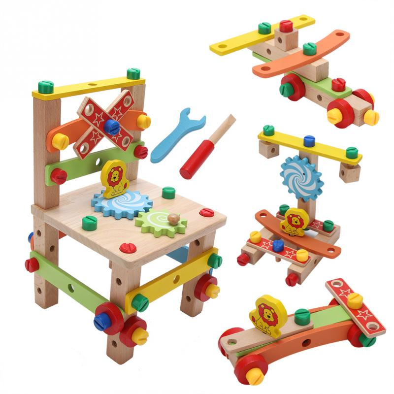 Montessori Toys Wooden Assembling Chair Toy For Kids Child Learning Intelligent Toys Colorful Educational Wooden Toy